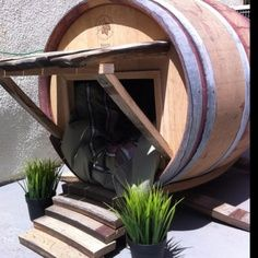 wine barrel dog houses | Mansions and Fine Art Made Especially for Cats and Dogs