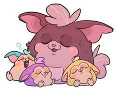 Cute Tattletail fan art with Mama and the baby Tattletails