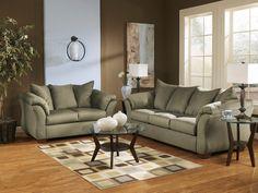 Darcy Sage Sofa & Loveseat #sofa #loveseat #livingroom #rana #ranafurniture #furniture #miami