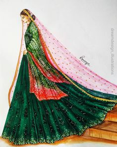 Dress Design Drawing, Dress Design Sketches, Fashion Design Drawings, Indian Dresses Traditional, Traditional Fashion, Fashion Drawing Dresses, Fashion Illustration Dresses, Fashion Model Sketch, Fashion Sketches