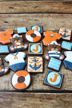 Orange, Blue & Brown Teddy Bear and Baby Sailor Cookies Fondant Cookies, Royal Icing Cookies, Blue Cookies, Sugar Cookies, Second Baby Showers, Onesie Cookies, Cookie Designs, Cookie Ideas, Brown Teddy Bear