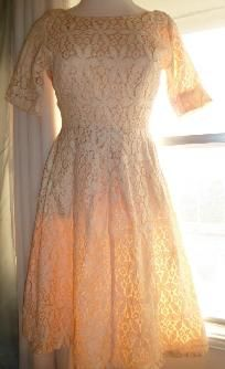 Vintage peaches and cream party dress $25.00--love it and it's my size--hummm, should I resist??