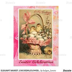 ELEGANT BASKET ,CHICKENS,FLOWERS AND EASTER EGGS 6.5X8.75 PAPER INVITATION CARD