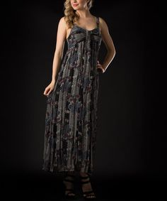 Take a look at this Gray & Blue Floral Maxi Dress by Vasna on #zulily today!