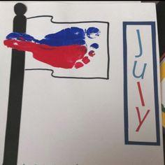 July Flag Footprint Art