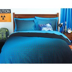 your zone reversible comforter cover & sham set, half-tone/rich black--- for boys room