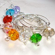 Crystal Wine Glass Charms Wedding Red Pink Green by boomerville, #sellergroup