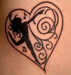 very cool tattoo a heart and in it a black dancing girl.jpg (564×604)