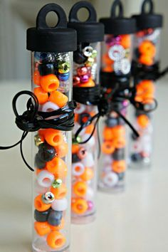 DIY Candy-less #Halloween Treats! The bead idea is really cute for other holidays too ( thinking Xmas).