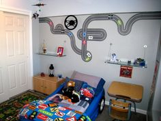 boys toddler bedding race car | Jr. Race Driver for a Toddler, A race car driver theme'd room with ...