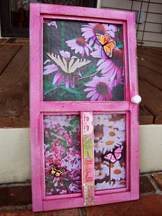 Make a miniture wall hanging screen door. Just NOT bright pink. lol