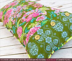 Patchwork Lumbar Pillow with Free-Motion Quilting   Sew4Home