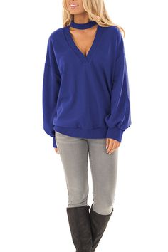 Women's Clothing, Hoodies & Sweatshirts, Black Friday Sale Women's Oversized Pullover Sweater With Deep V Neck and Band Choker Hoodie - Blue - Womens Fashion Online, Fashion Women, Trendy Tops, Pullover Sweaters, Fashion Outfits, Style Fashion, Choker, Clothes For Women, Long Sleeve