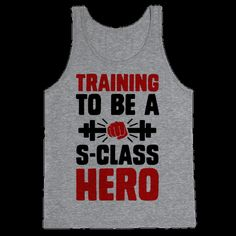 If you train hard for three years doing 100 push-ups, 100 sit-ups, 100 squats, and 10km of running every day you may become the strongest C-class hero and still have to train to work on your s-class status. Or you can get turned into a cyborg and cheat your way to the top.  Rock this awesome anime inspired fitness design and train until you can defeat your foes in one punch, man!