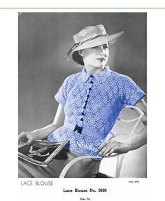 1930s Button Front Blouse with Collar and Short by eStitches, $3.75
