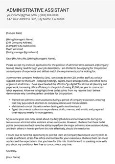 Administrative Assistant Cover Letter Example & Tips Inside Cover Letter Template For Office Assistant - Best Business Templates Resume Cover Letter Examples, Good Resume Examples, Cover Letter For Resume, Cv Examples, Cover Letter Template, Cover Letter Sample, Letter Templates, Templates Free, Best Cover Letter