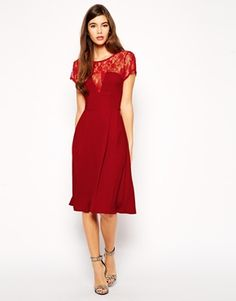 Love Skater Midi Dress with Lace Detail and Box Pleat Skirt