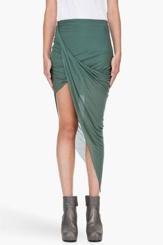 Green Asymmetric Skirt