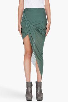 Helmut Lang Green Asymmetric Skirt