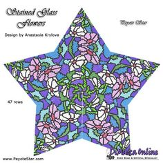 TUTORIAL STAINED GLASS FLOWERS 3D PEYOTE STAR Design by Anastasia Krylova + Basic Instructions Little 3D Peyote Star This beading pattern provides a colour diagram and word chart to create the STAINED GLASS FLOWERS 3D Peyote Star. This star has 47 rows. Included are also step by step Loom Patterns, Star Patterns, Beading Patterns, Japanese Patchwork, Stained Glass Flowers, Beaded Christmas Ornaments, Peyote Beading, Star Designs, Beading Tutorials