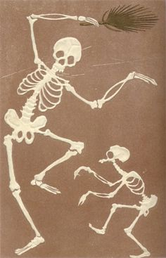 Vintage Japanese Skeleton postcard.