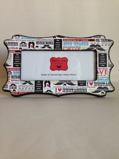 barber cosmetology license frame mustache print 8 12 x 3 58