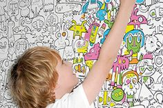 Burgerdoodles Colour-In Wallpaper - awesome for kids' playroom Colorful Wallpaper, Wall Wallpaper, Wallpaper Awesome, Colour In Wallpaper, Wallpaper Gallery, Wallpaper Ideas, Number Wallpaper, Playroom Wallpaper, Normal Wallpaper