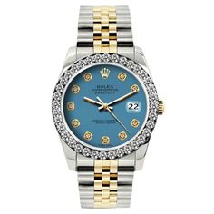 Pre-owned Rolex Datejust 18K Yellow Gold / Stainless Steel Diamond... (81,695 MXN) ❤ liked on Polyvore featuring jewelry, watches, diamond dial watches, gold jewelry, gold watches, diamond jewelry and preowned watches