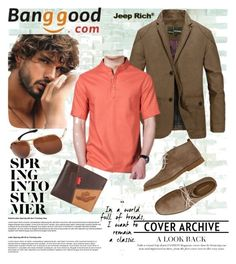 """""""Banggood 4"""" by divi121314 ❤ liked on Polyvore featuring Jeep Rich, Hush Puppies, men's fashion, menswear and BangGood"""