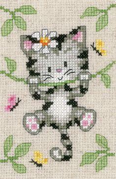 Cats and Flowers Cross Stitch Kit Mini Cross Stitch, Cross Stitch Heart, Simple Cross Stitch, Cross Stitch Animals, Counted Cross Stitch Kits, Modern Cross Stitch, Cross Stitch Designs, Cross Stitch Patterns, Loom Patterns