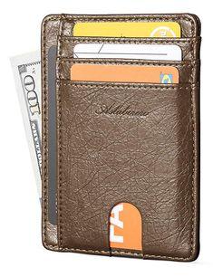 df561f1044c7 AslabCrew Minimalist Genuine Leather RFID Blocking Front Pocket Wallet, Slim  Card Wallets, Carbon-