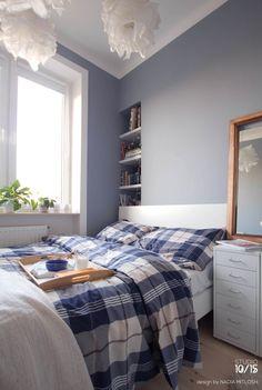 Scandinavian bedroom with blue grey walls .Warm and cosy little studio 32 m2 in Warsaw. Design by Nadia Mitłosz https://www.facebook.com/Studio-1015-Nadia-Mit%C5%82osz-352930628189169/timeline/