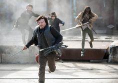 Rick Grimes (Andrew Lincoln), Daryl Dixon (Norman Reedus), Carl Grimes (Chandler Riggs) e Michonne (Danai Gurira) no 16º Episódio da 4ª Temporada