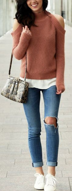 Layers with cashmere cold-shoulder sweater (very affordable) and ripped skinny jeans. Snake skin crossbody bag by Henri Bendel. White sneakers under $50! By fashion blog Marie's Bazaar