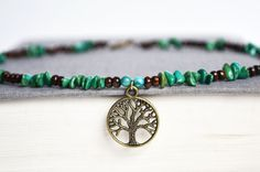 wooden jewelry turquioce | Wood and Turquoise Necklace.Tree of Life Bead Necklace. Hippie Tree ...