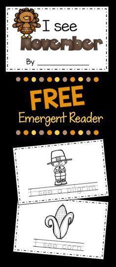 FREE Thanksgiving Emergent Reader - adorable literacy center for November in Kindergarten - Preschool and Pre-K