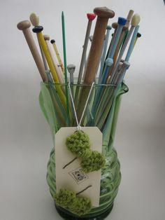 Hand Knitted Hair Clips  2 Mini Bows in Chunky Leaf Green Yarn. $5.00, via Etsy.