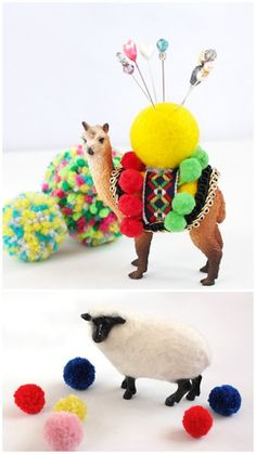 "DIY Alpaca Pin Cushion, pom pom felt wearing Bambi and felted sheep. All Plastic Animals. Tutorials from Small Good Things. I've seen this pinned without the permalink. On Tumblr you have to click on ""notes"" for the permalink :)"