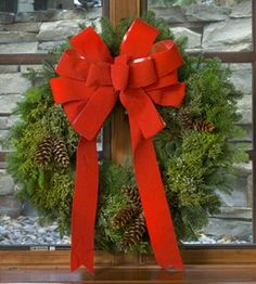 Our fragrant wreath is made of mixed evergreens trimmed with pine cones and a festive bow. Christmas Flowers, Christmas Ideas, Christmas Wreaths, Cut Flowers, Fresh Flowers, White Plains, Flower Shops, Deck The Halls, Blossom Flower