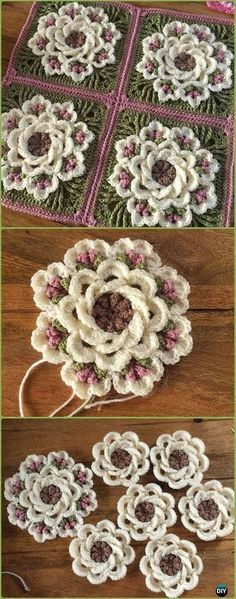 Crochet Flowers Ideas Crochet Tropical Delight Square Free Pattern - Crochet Granny Square Free Patterns - Crochet Granny Square Free Patterns: Crochet Animal, Flower, Heart, Granny Square with Free Patterns and video for beginner and seasoned crocheters. Motifs Granny Square, Granny Square Crochet Pattern, Crochet Blocks, Crochet Flower Patterns, Crochet Squares, Crochet Blanket Patterns, Crochet Flowers, Knitting Patterns, Pattern Flower