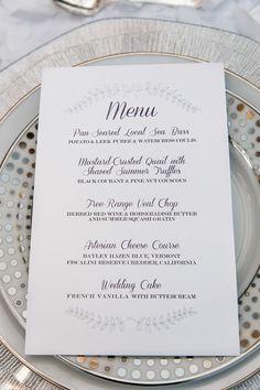 Elegant silver and white wedding menu idea {C. Baron Photography}