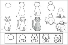 Learn to draw Cat Doodle, Doodle Drawings, Drawing Sketches, Splat Le Chat, Directed Drawing, Drawing Practice, Step By Step Drawing, Drawing For Kids, Pebble Art
