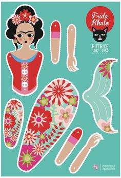 Frida Kahlo as a memaid Paper Puppets, Paper Toys, Diy With Kids, Diy And Crafts, Crafts For Kids, Frida Art, Paper Dolls Printable, Vintage Paper Dolls, Doll Toys