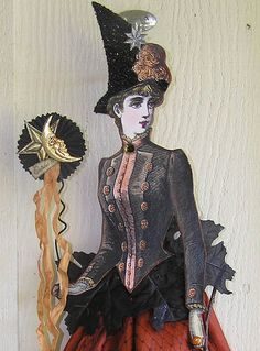 Victorian Witch Close-up by Iva's Creations Halloween Paper Crafts, Halloween Ii, Halloween Projects, Vintage Halloween, Vintage Witch Costume, Witch Costumes, Diy Costumes, Witch Pictures, Which Witch