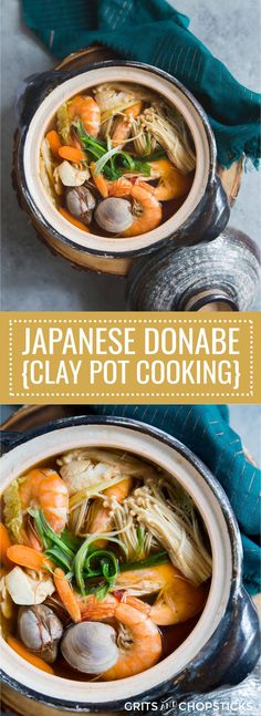 This Japanese donabe (clay pot) is a perfect little pot for making this amazing, hearty seafood soup; click here for the recipe!