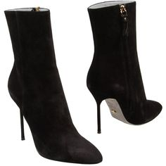 SERGIO ROSSI Ankle boot ($263) ❤ liked on Polyvore featuring shoes, boots, ankle booties, heels, black, black heel booties, short black boots, black ankle boots, black leather ankle booties and black leather boots