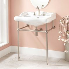 Dawes Porcelain Console Sink with Brass Stand - Console Sinks - Bathroom Sinks - Bathroom
