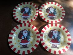 Arcoroc Santa Plate (4) Red Nose Christmas Tree Stars France Walmart