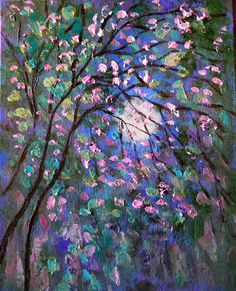 Original oil painting abstract impressionist moon trees pond landscape Vadal  #Impressionism