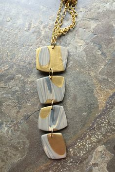 Polymer clay necklace by Linda Brooks